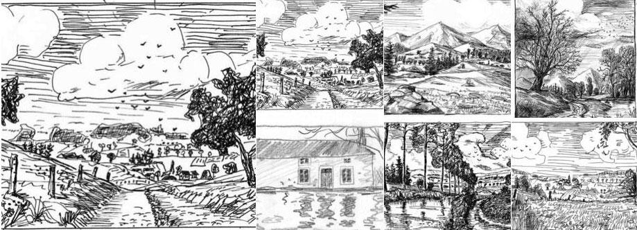 dessins en noir et blanc du portfolio